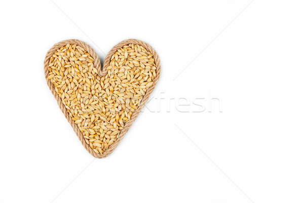 Symbolic heart made from rope with barley grains  Stock photo © alekleks