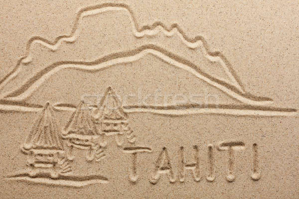 Tahiti handwritten from  sand  Stock photo © alekleks