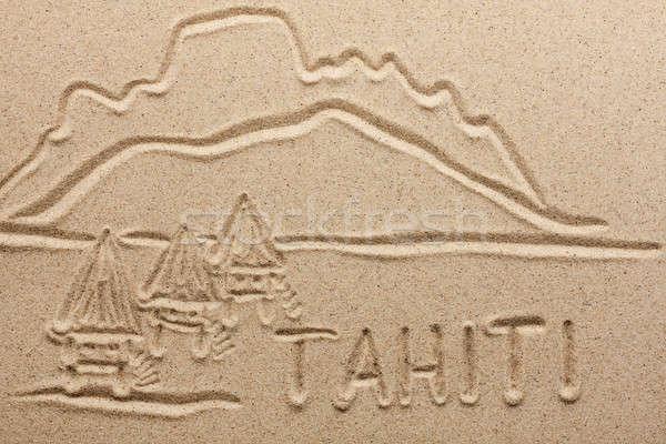Tahiti kum su doku doğa Stok fotoğraf © alekleks