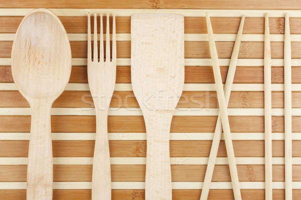 Lepel vork eetstokjes bamboe hout achtergrond Stockfoto © alekleks