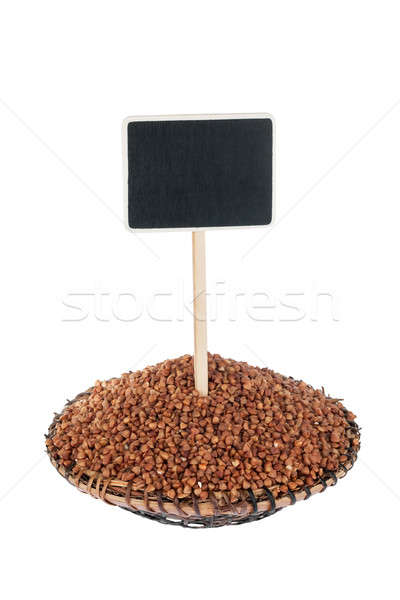 Heap of  buckwheat  in a plate, with a pointer for your text Stock photo © alekleks