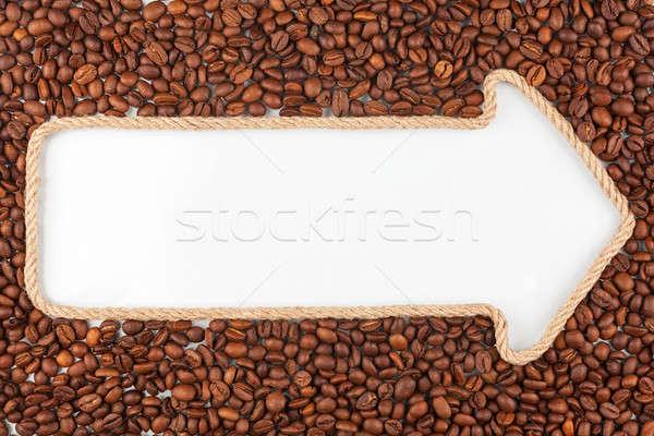 Seta corda grãos de café branco lugar fundo Foto stock © alekleks