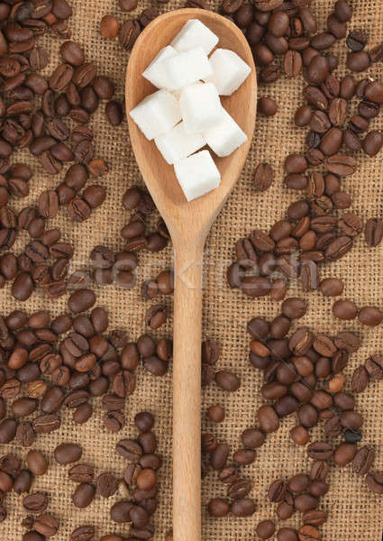 Wooden spoon with  lump sugar  Stock photo © alekleks