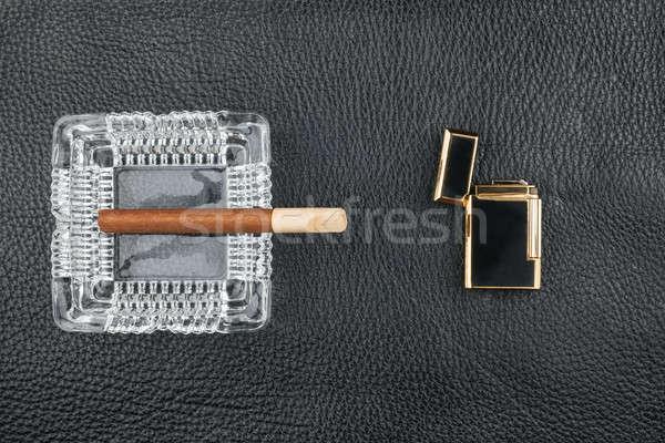 öngyújtó üveg hamutartó szivar eredeti fekete Stock fotó © alekleks