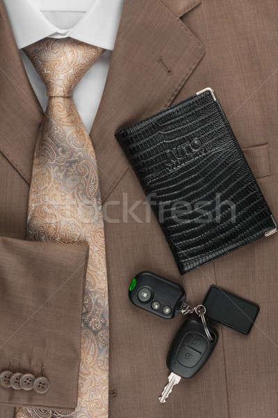 Jogosítvány slusszkulcs kabát konzerv használt biztonság Stock fotó © alekleks