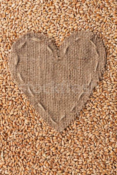 Cadre forme coeur toile de jute blé espace Photo stock © alekleks