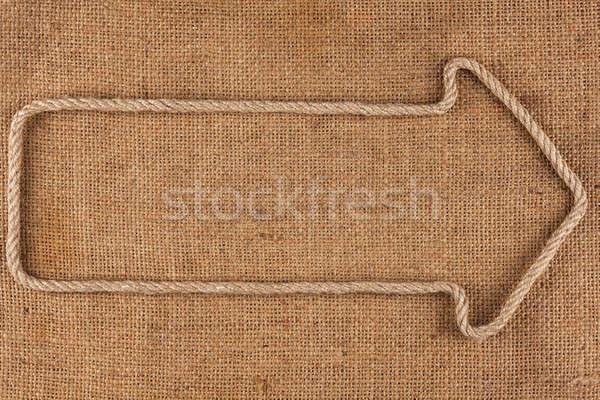 Flèche corde toile de jute cadre signe sombre Photo stock © alekleks