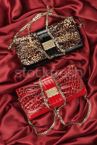 Piros leopárd táska szövet konzerv textúra Stock fotó © alekleks