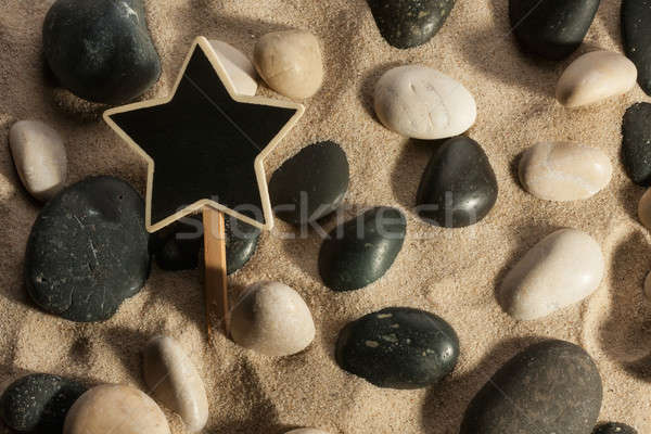 Close-up of stones and star sticking out of the sand in the sunl Stock photo © alekleks