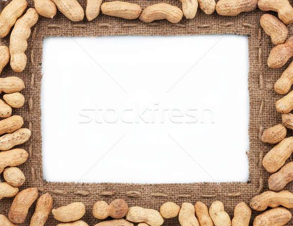 Frame made of burlap with peanut Stock photo © alekleks