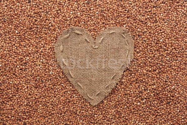 Cadre forme coeur toile de jute espace mariage Photo stock © alekleks