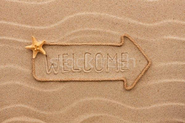 Corda bem-vindo starfish areia fundo Foto stock © alekleks