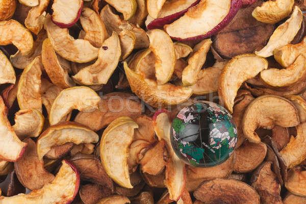 üveg földgömb aszalt alma Föld zöld Stock fotó © alekleks