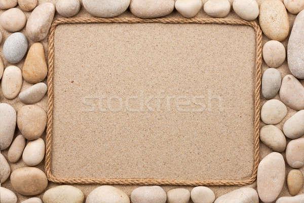 Quadro corda areia branco pedras textura Foto stock © alekleks