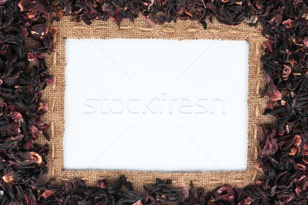 Keret zsákvászon vonal hibiszkusz hazugságok fehér Stock fotó © alekleks