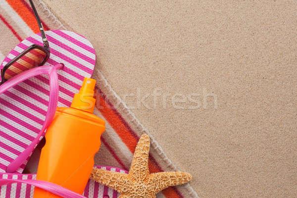 Kellékek tengerpart homok hely buli divat Stock fotó © alekleks