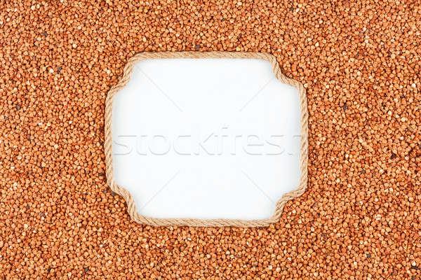 Keret kötél magvak fehér hely szöveg Stock fotó © alekleks