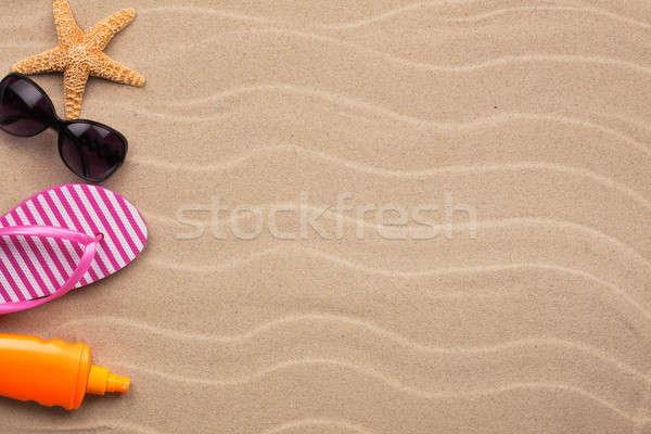 Kellékek tengerpart homok hely nap terv Stock fotó © alekleks