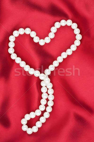 Simbólico corazón rojo tejido amor diseno Foto stock © alekleks