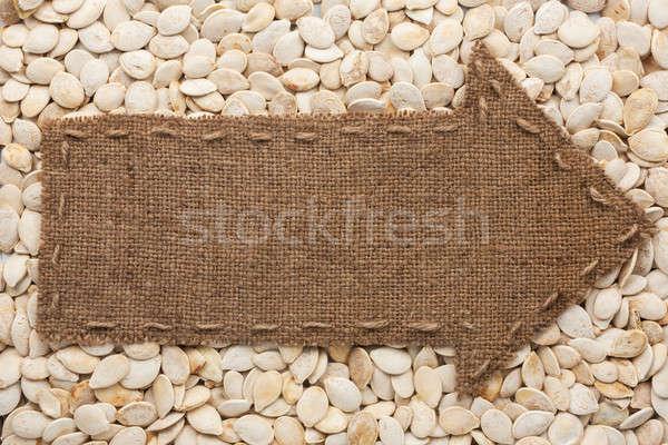 Zsákvászon hazugságok napraforgó magok hely felirat Stock fotó © alekleks