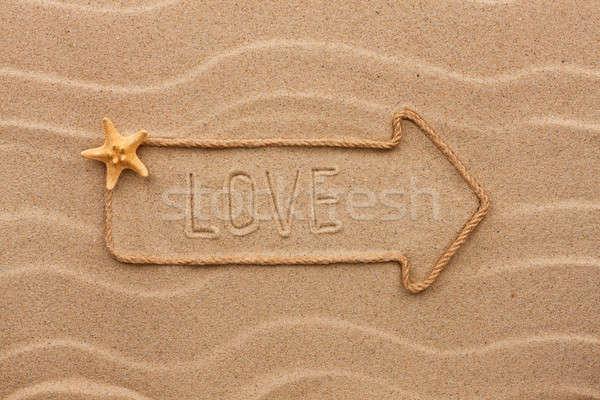 Corda amor starfish areia verão Foto stock © alekleks