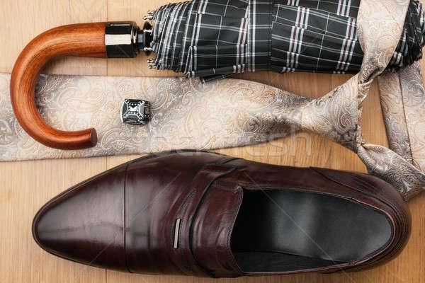 Klasszikus cipők nyakkendő fapadló konzerv használt Stock fotó © alekleks