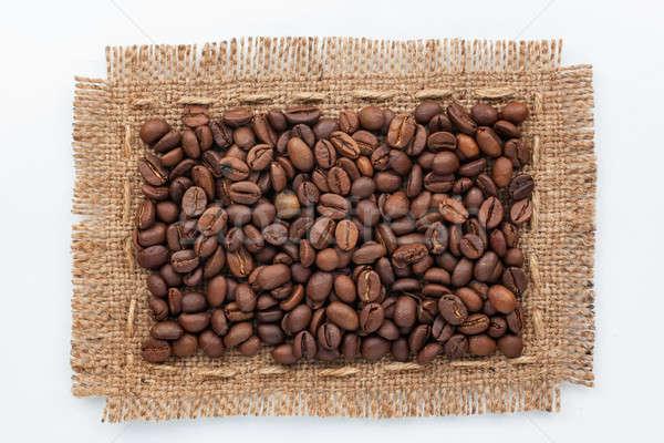 Frame jute koffiebonen witte gebruikt textuur Stockfoto © alekleks