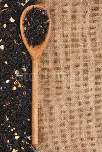 Kanál fekete tea hazugságok zsákvászon textúra Stock fotó © alekleks