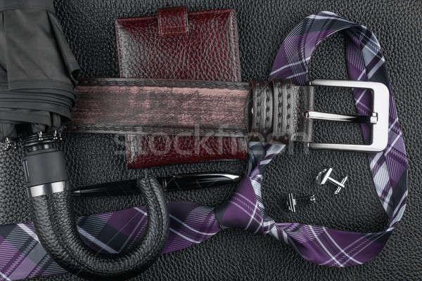 Nyakkendő öv pénztárca mandzsettagombok toll esernyő Stock fotó © alekleks