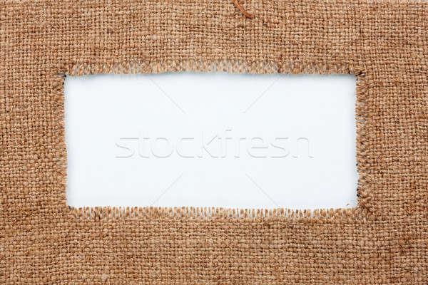 Keret zsákvászon hazugságok fehér konzerv használt Stock fotó © alekleks