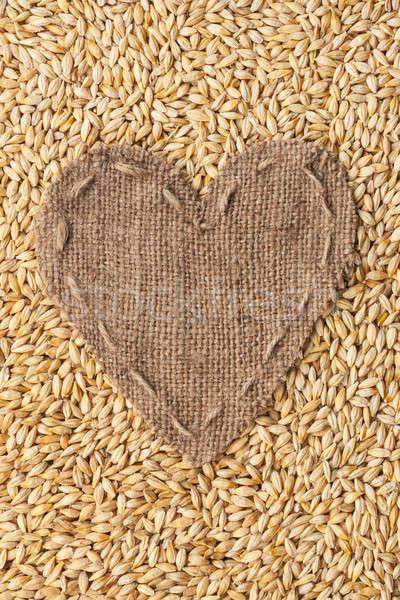 Quadro forma coração pano de saco cevada espaço Foto stock © alekleks