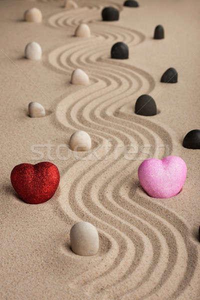 два сердце песок можете используемый пляж Сток-фото © alekleks