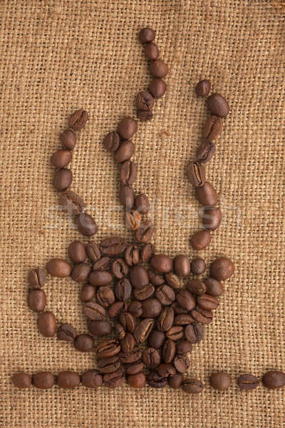 Kahve fincanı kahve çekirdekleri çuval bezi can kullanılmış kahve Stok fotoğraf © alekleks