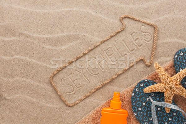 Seyşeller plaj kum parti deniz Stok fotoğraf © alekleks