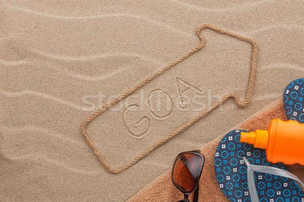 Foto stock: Goa · praia · areia · festa · fundo