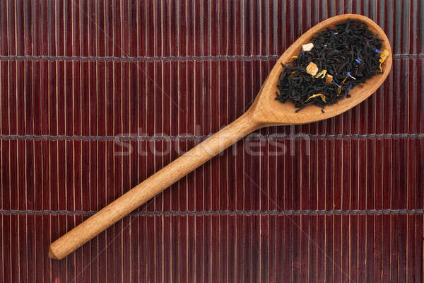 Wooden spoon with black tea Stock photo © alekleks