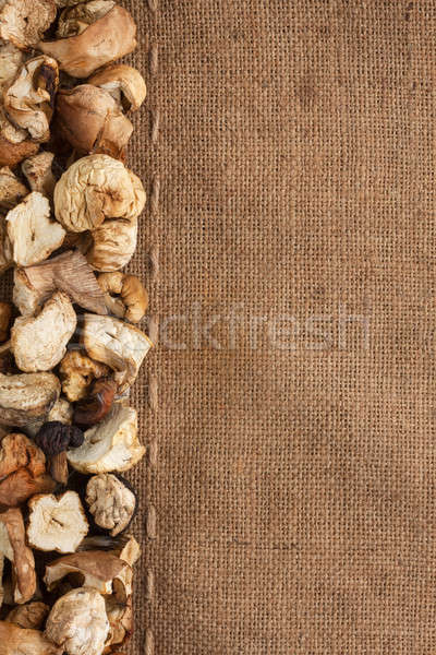 Dried mushroom lies on sackcloth Stock photo © alekleks