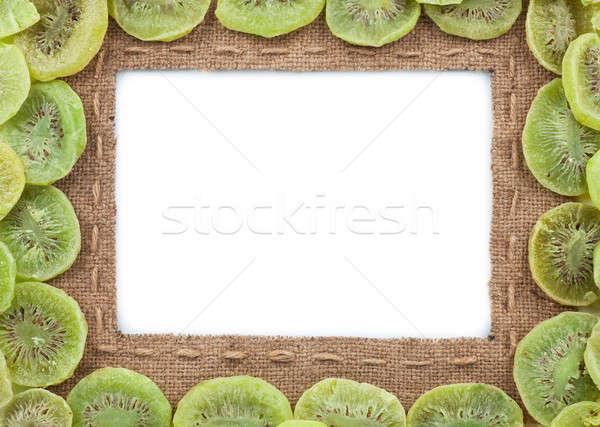 Quadro pano de saco secas kiwi branco fundo Foto stock © alekleks