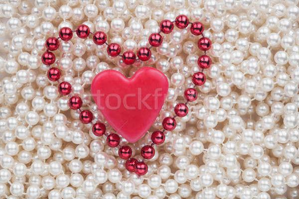 Kettő szívek fehér gyöngyök esküvő terv Stock fotó © alekleks