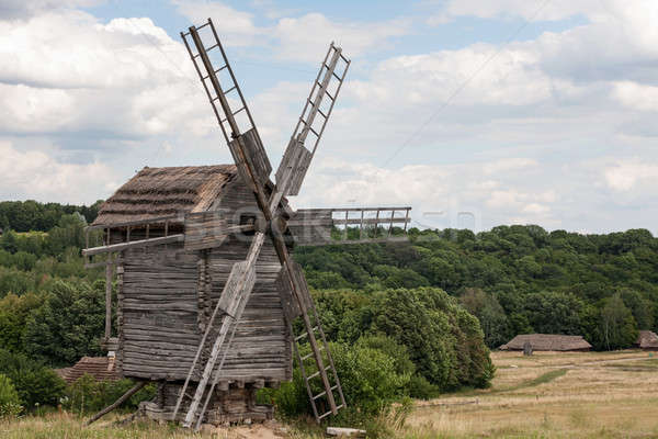 Landscape with an old mill Stock photo © alekleks