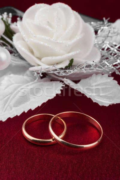 Wedding Rings On A Red Cloth Stock Photo C Alekleks 3652529