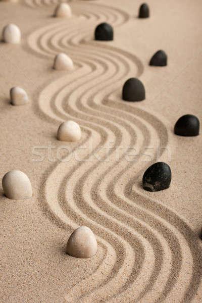 line  made of  stones standing on the sand Stock photo © alekleks