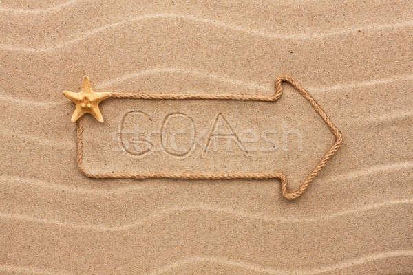 Arrow corda mare conchiglie parola goa Foto d'archivio © alekleks