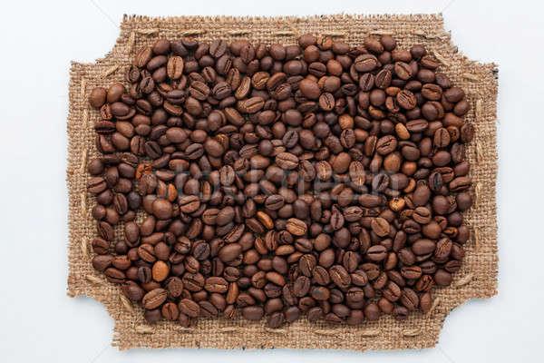 Quadro pano de saco grãos de café mentir branco comida Foto stock © alekleks