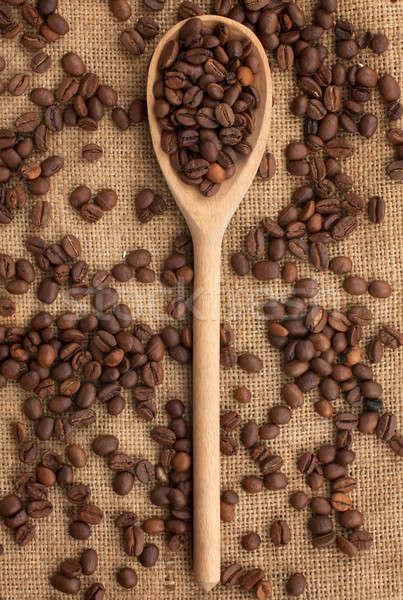 Kávé fakanál zsákvászon fa háttér energia Stock fotó © alekleks
