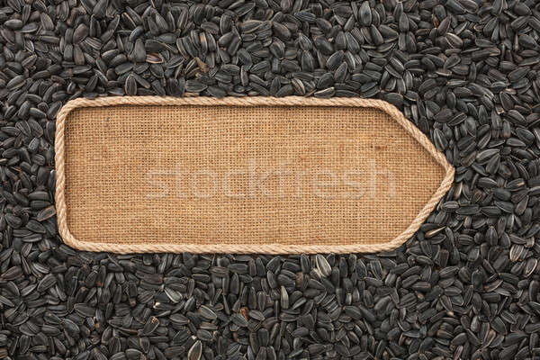 Pointer made from rope with sunflower seeds  lying on sackcloth Stock photo © alekleks
