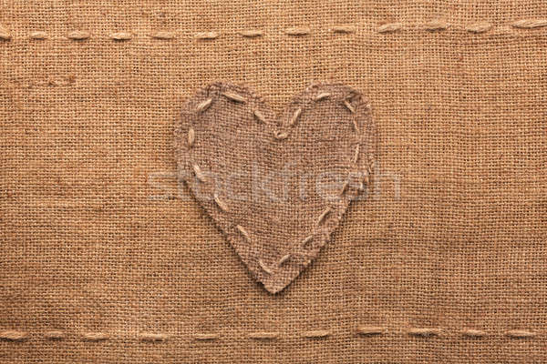 Heart made of burlap  lies on a sacking  background Stock photo © alekleks