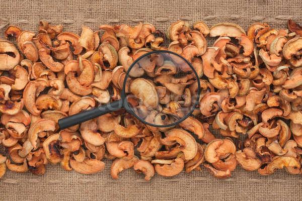 Magnifying glass lies on dried apple  and sacking Stock photo © alekleks