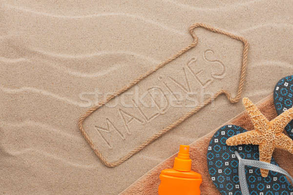 Stockfoto: Maldiven · strand · zand · partij · zee