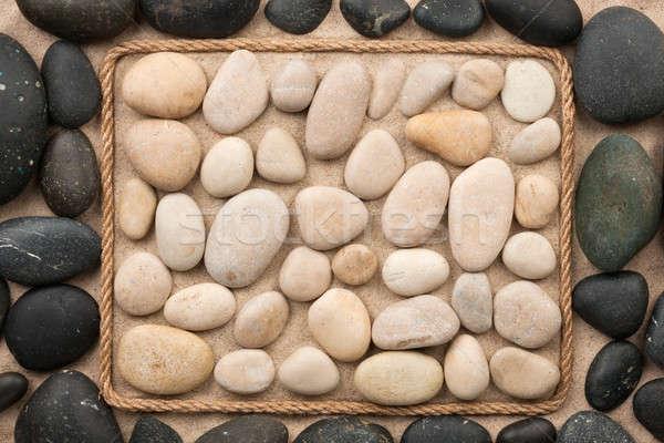 Belo quadro corda preto e branco pedras areia Foto stock © alekleks